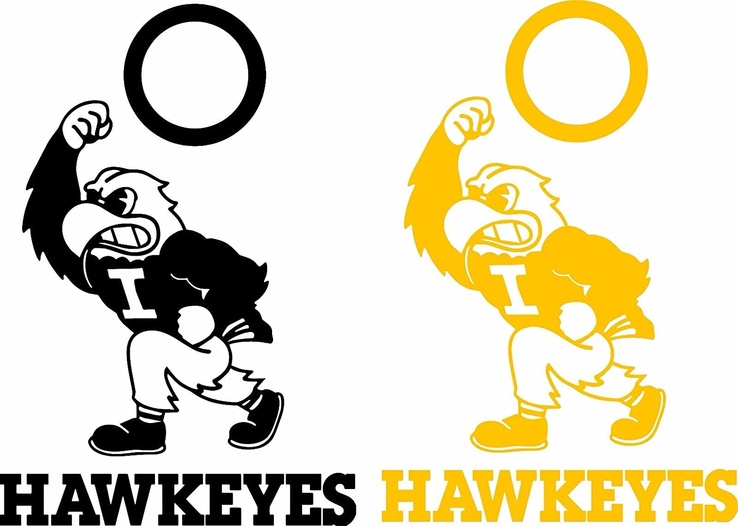 Made in USA #18 Free shipping Iowa Hawkeyes cornhole set of 2 decals