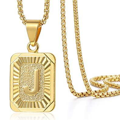 Trendsmax Initial Letter C Pendant Necklace Gold Plated Square Womens Mens Chain Box Link 1MLDkXUs9