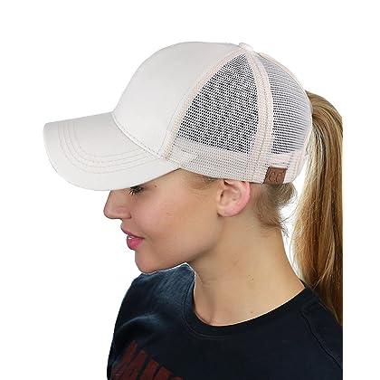 C.C Ponytail Messy Buns Trucker Ponycaps Plain Baseball Visor Cap Dad Hat  Glitter White ... fdf26177cc69