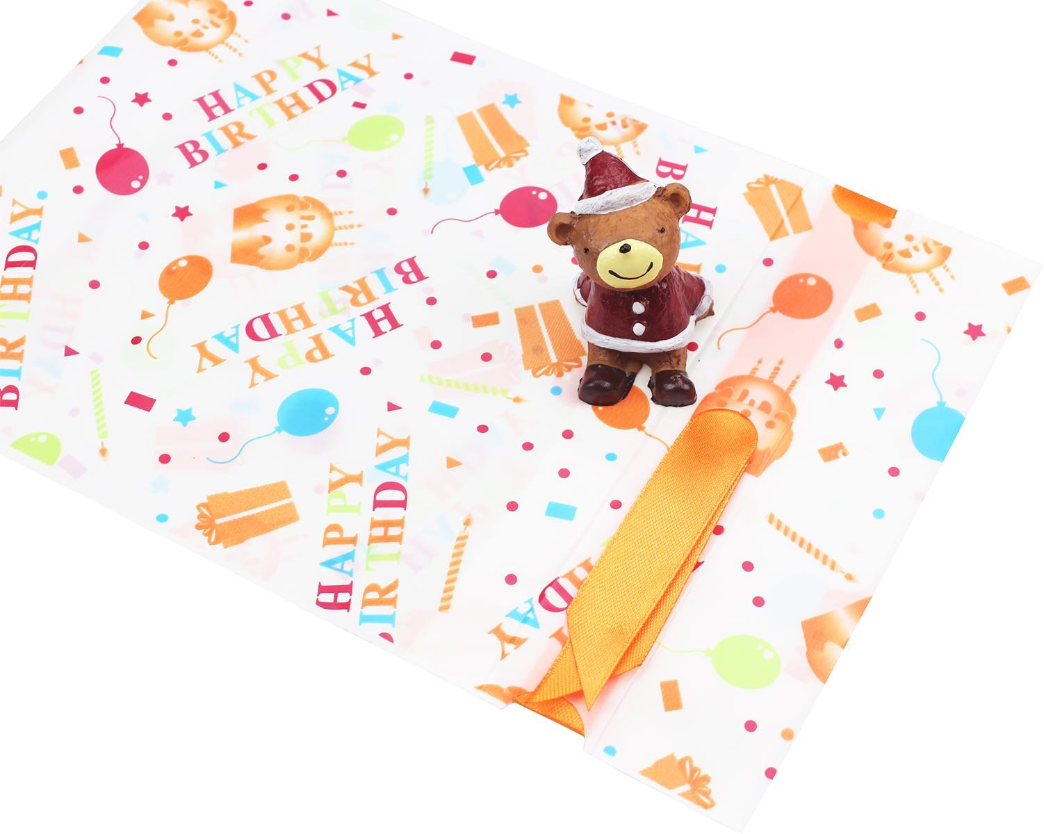 Zealax 15pcs Happy Birthday Theme Party Favors Treat Bags Gift Wrapping Drawstring Plastic Goodies Package Bags Baby Shower Decorations Ideas, 6 inches x 9 inches