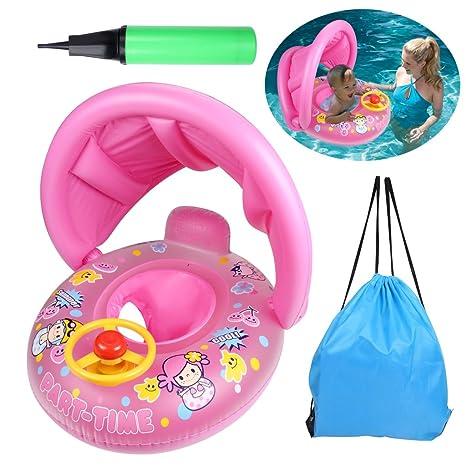 OWUDE flotador de la piscina inflable flotante del juguete del bebé del bebé con el toldo