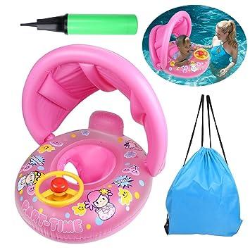 OWUDE flotador de la piscina inflable flotante del juguete del bebé del bebé con el toldo ajustable por 12-36 meses (Rosado): Amazon.es: Juguetes y juegos