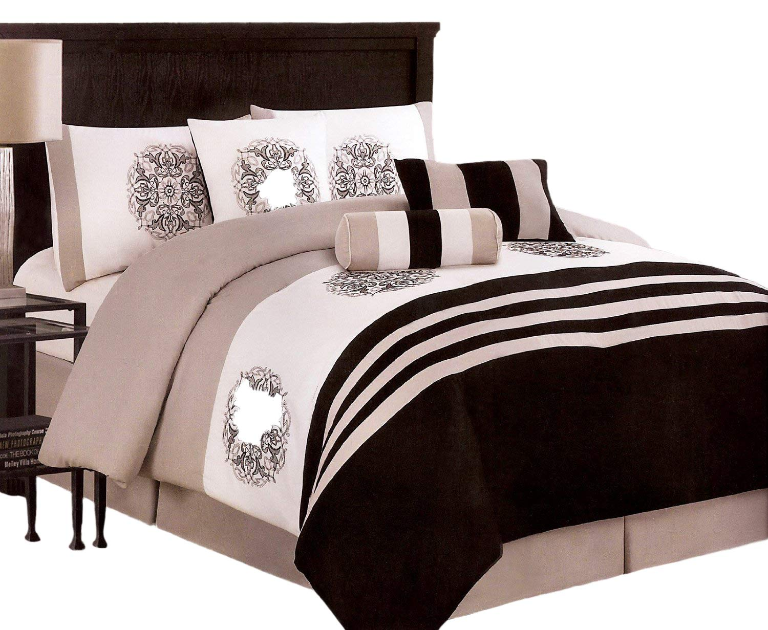 7-pieces Embroided Medallion Comforter Set King, Black/Taupe/White JD Home
