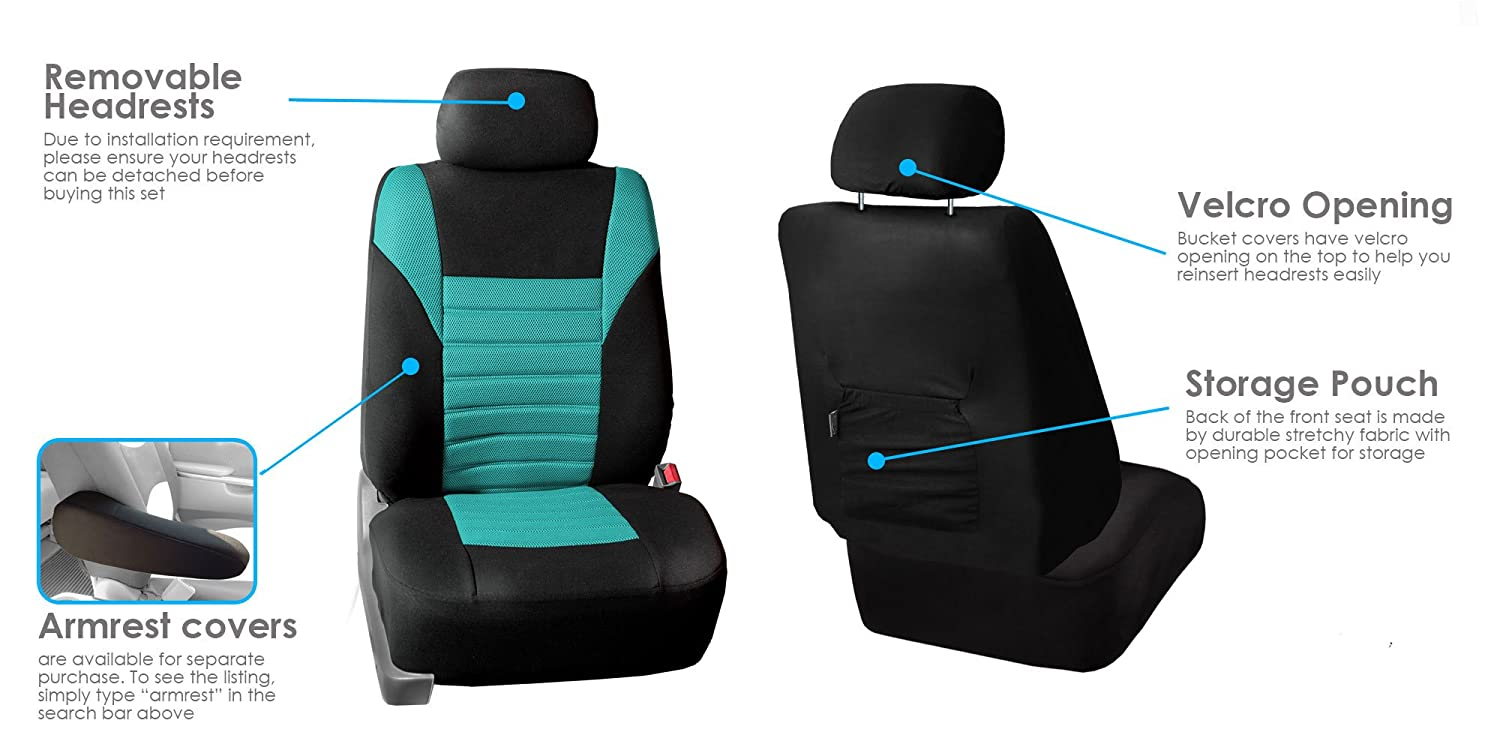 FH Group FB068BLUE115 Blue Universal Car Seat Cover Premium 3D Air mesh Design Airbag and Rear Split Bench Compatible