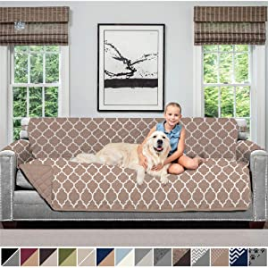 Sofa Shield Original Patent Pending Reversible Oversize Sofa Slipcover, 2 Inch Strap Hook, Seat Width Up to 78 Inch Washable Furniture Protector, Couch Slip Cover, Oversize Sofa, Quatrefoil Mocha