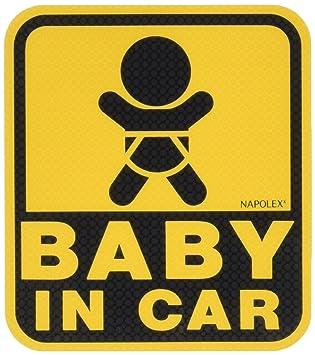 ナポレックス 車用 サイン セーフティーサイン BABY IN CAR 特殊吸盤タイプ(内貼り) 傷害保険付 SF-19