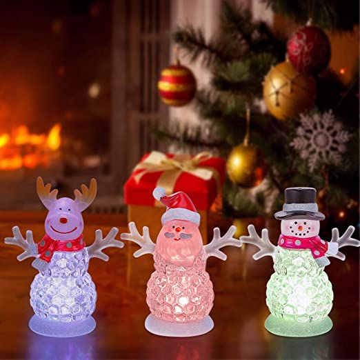 Snowman LED Multi-Color Changing Crystal Battery Powered Light Holiday Gift