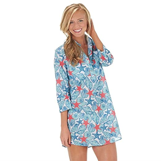 8a110c9b2f Mud Pie Kelli Shirtdress Cover-Up Starfish Breeze (S) at Amazon Women's  Clothing store: