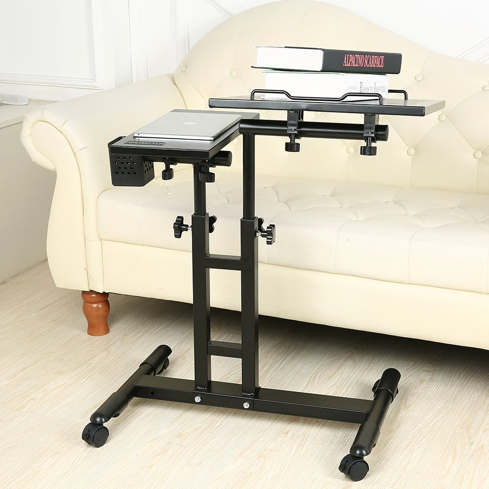 Redscorpion Adjustable Height Rolling Mobile Laptop Desk Table Computer Desk Cart Over Sofa Bed Table(Black) by Redscorpion (Image #6)