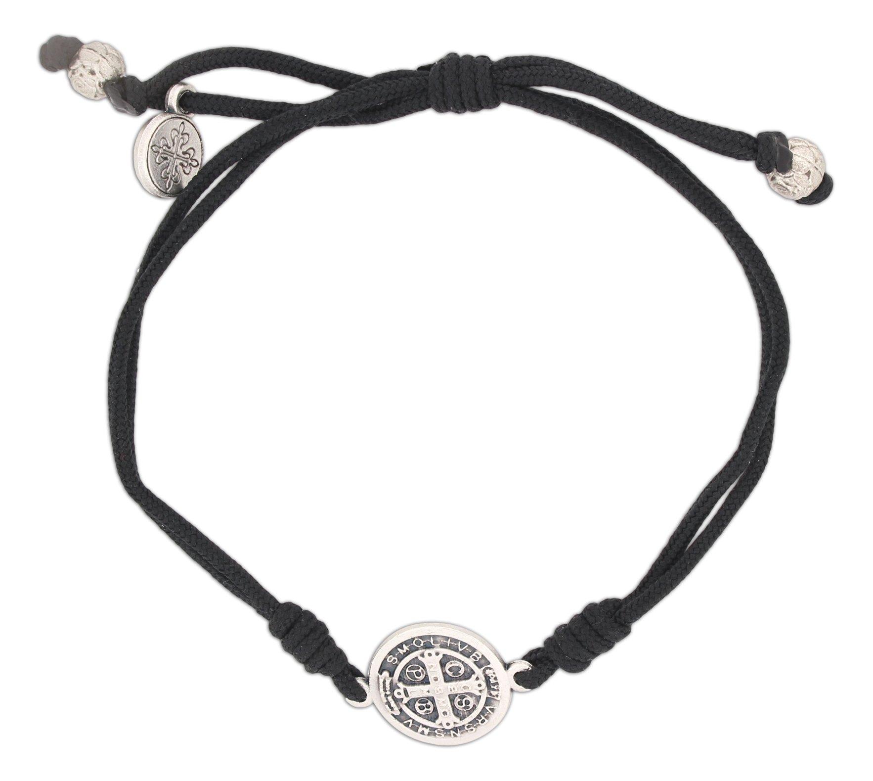 Serenity Blessing Bracelet, Adjustable (Silver Plated Medal on Black)
