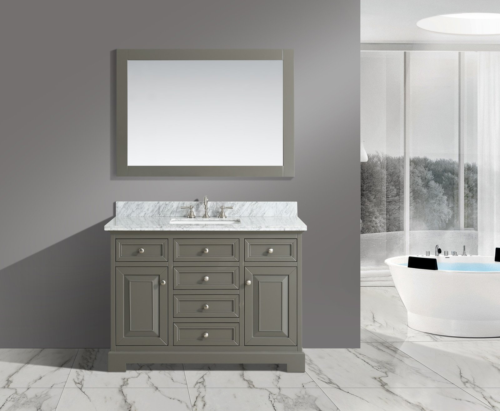 UrbanFurnishing.net - Rochelle 48-Inch (48'') Bathroom Sink Vanity Set with White Italian Carrara Marble Top - Distressed Gray