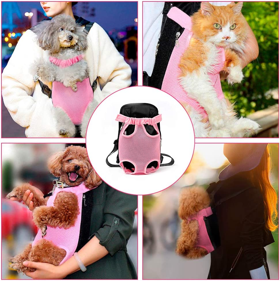 Legs Out Pink, XL Ertisa Dog Carrier Pet Backpack Hands-free Breathable Small Medium Pet Cat Dog Backpack With Adjustable Shoulder Straps for Traveling Hiking Camping Biking Outdoor