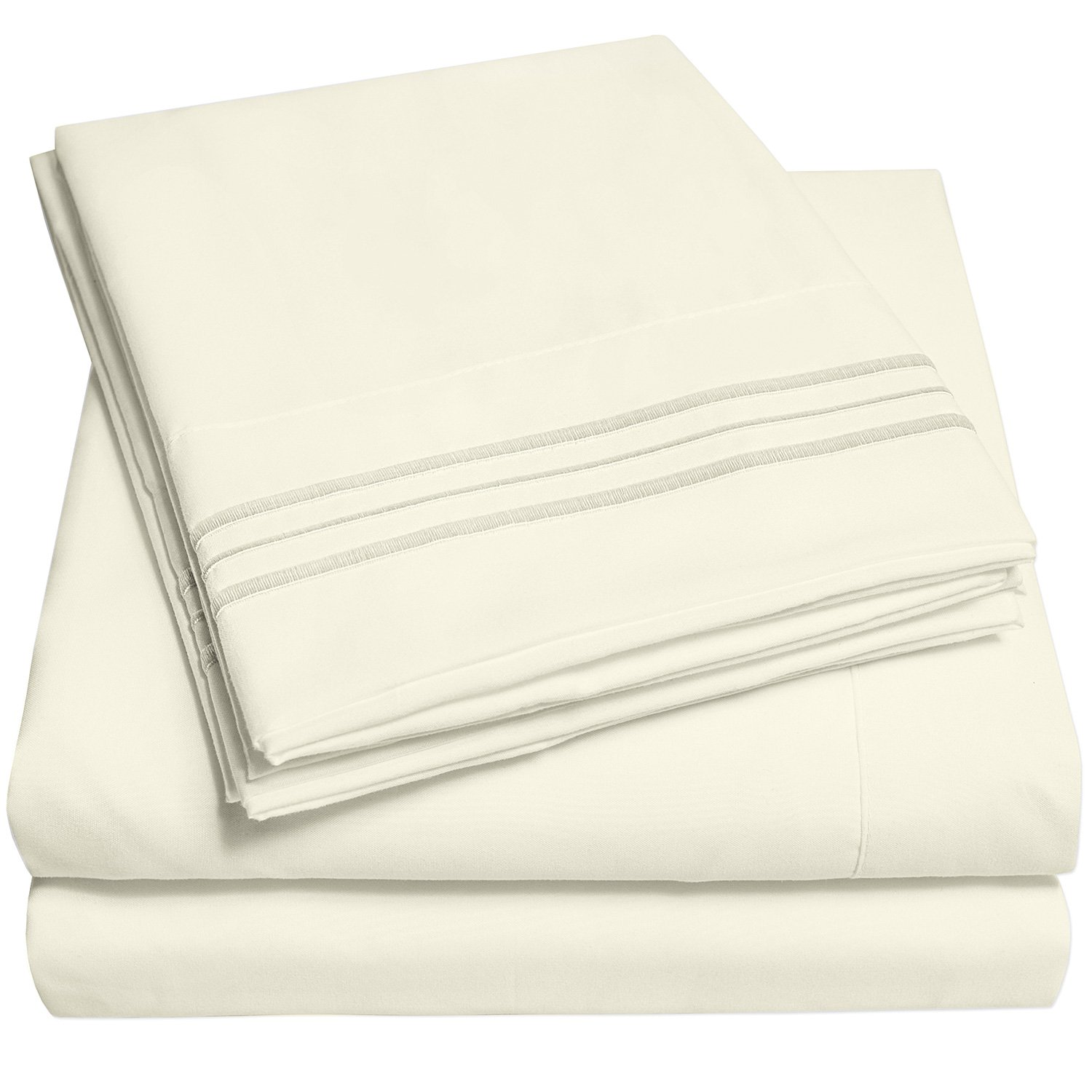 1500 Supreme Collection Extra Soft Split King Sheets Set, Ivory - Luxury Bed Sheets Set With Deep Pocket Wrinkle Free Hypoallergenic Bedding, Over 40 Colors, Split King Size, Ivory