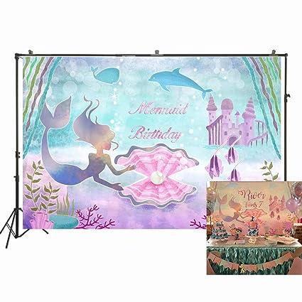 NIVIUS PHOTO Fondo de Fiesta de cumpleaños de Sirena para fotografía bajo el mar con diseño de Ballena y Perlas, Fondo de Fotos para niñas, Color ...