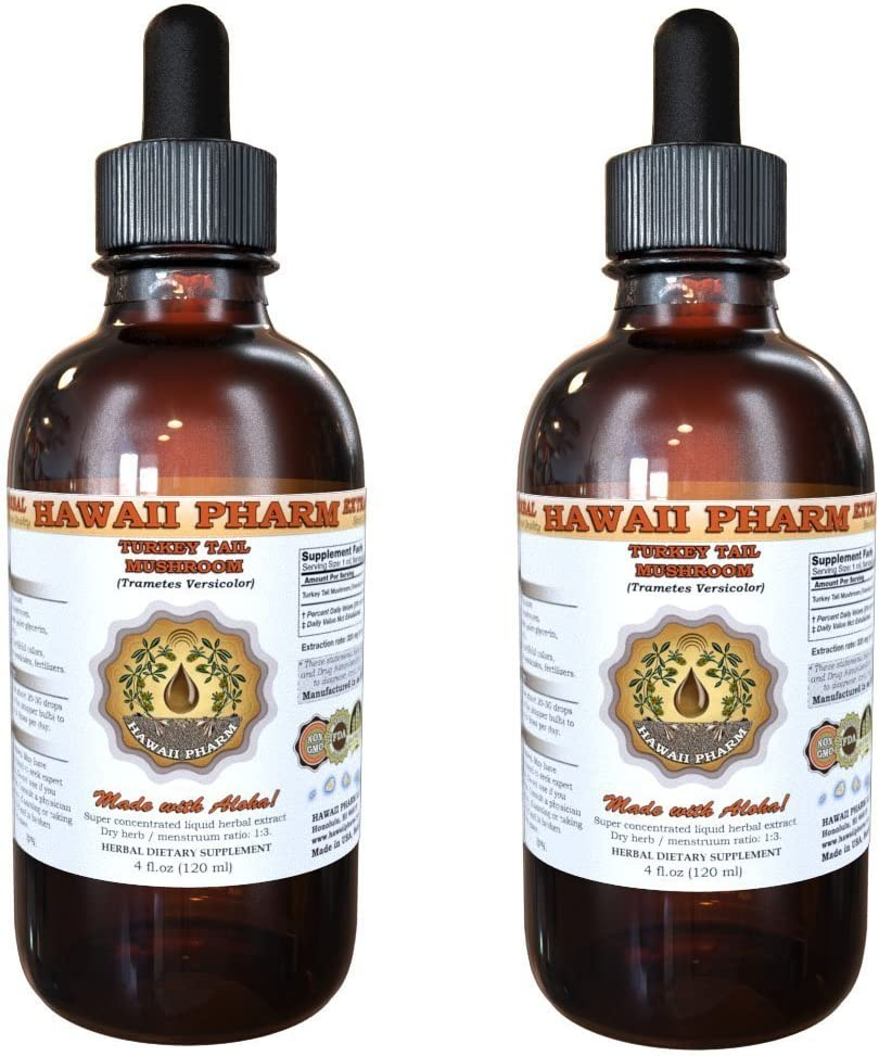 Turkey Tail Mushroom Liquid Extract, Turkey Tail Mushroom Trametes Versicolor Mushroom Tincture, Herbal Supplement, Hawaii Pharm, Made in USA, 2×4 fl.oz