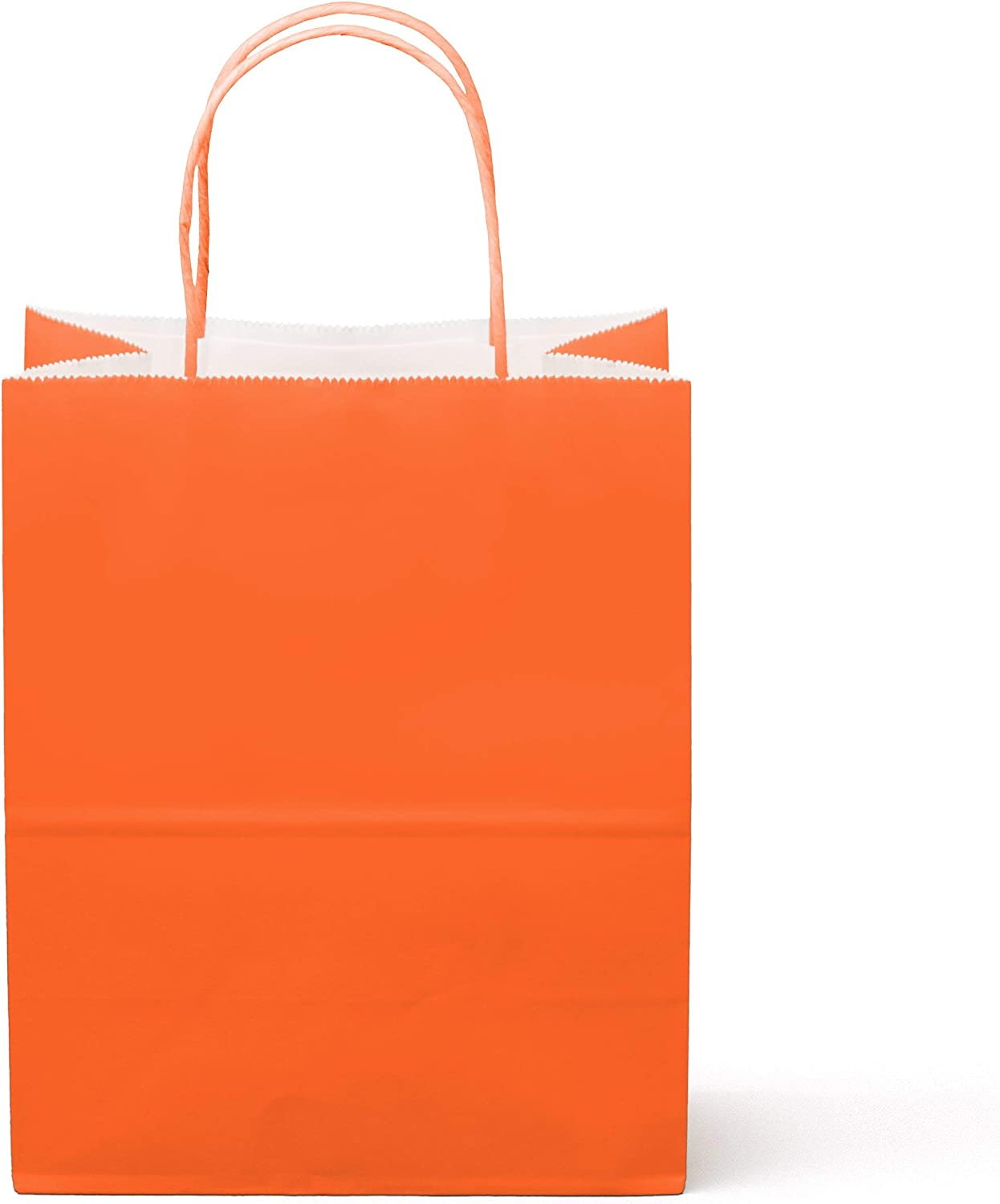 """12 Counts Food Safe Premium Paper and Ink Medium 10"""" X 8"""", Vivid Colored Kraft Bag with Colored Sturdy Handle, Perfect for Goodie Favor DIY Bag, Environmentally Safe (Medium, Orange)"""