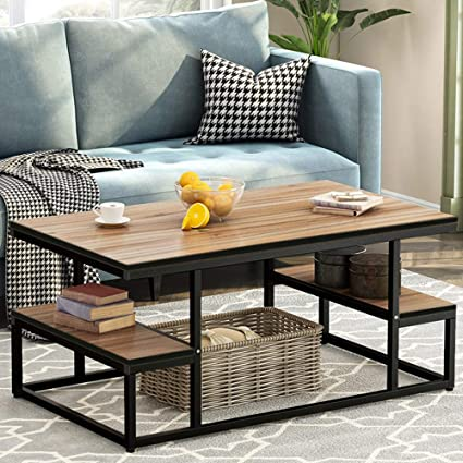 Amazon.com: Tribesigns Modern Industrial Coffee Table, 48 Inch Rectangular Cocktail Table With Open Storage Shelf For Living Room, Black Metal Frame (Dark Oak): Kitchen & Dining