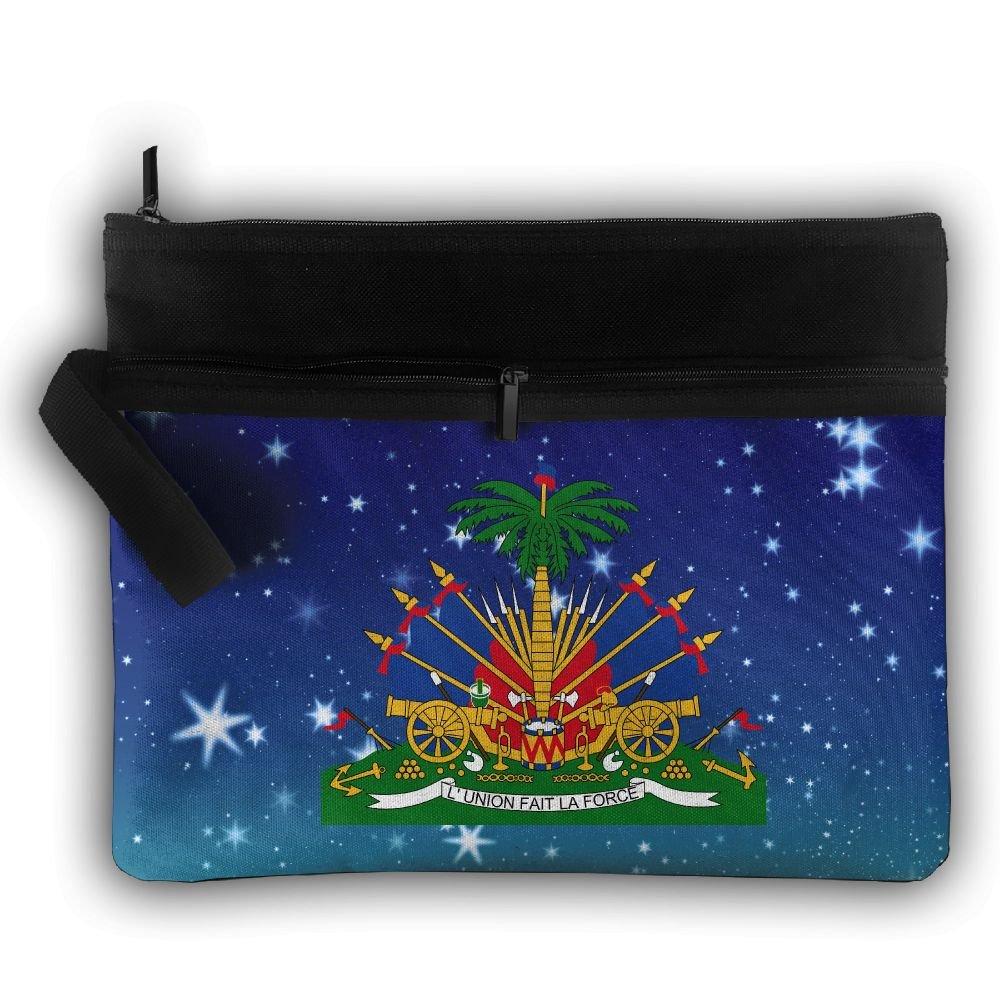 Coat Of Arms Of Haiti Double Layers Zipper Cosmetic Bag Makeup Brush Holder Bag