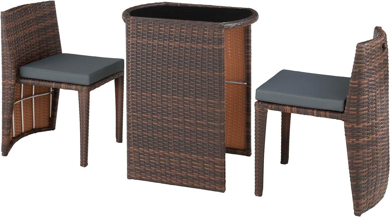 Polyrattan Bistro Sitzgruppe, platzsparend zusammenschiebbar, inkl. Kissen – Diverse Farben