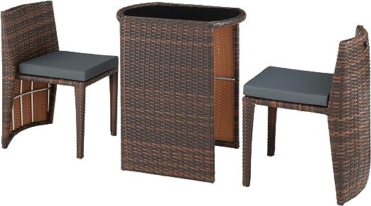 TecTake 800692 - Conjunto de Ratán Bistró, Almacenamiento Compacto, Impermeable, Incl. Cojines (Negro-Marrón | No. 403143): Amazon.es: Jardín