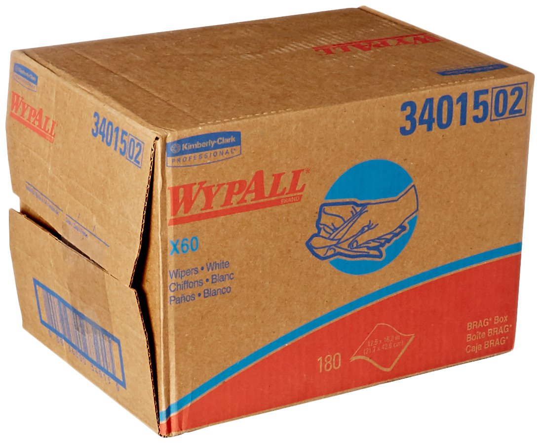 Kimberly Clark Safety 34015 White WYPALL X60 Wipers, 12.5' x 16.8' Sheets (Pack of 180) 12.5 x 16.8 Sheets (Pack of 180) Thomas Scientific LGSE4274