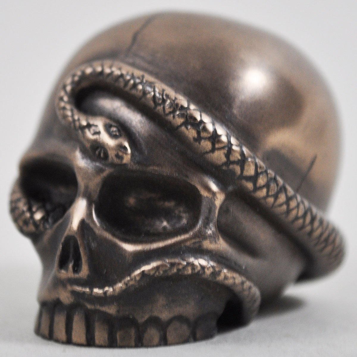 Design Clinic Snake Skull in Bronze - H5cm (small) Serpent Head Halloween Gothic Witchcraft Magic Gift Decor
