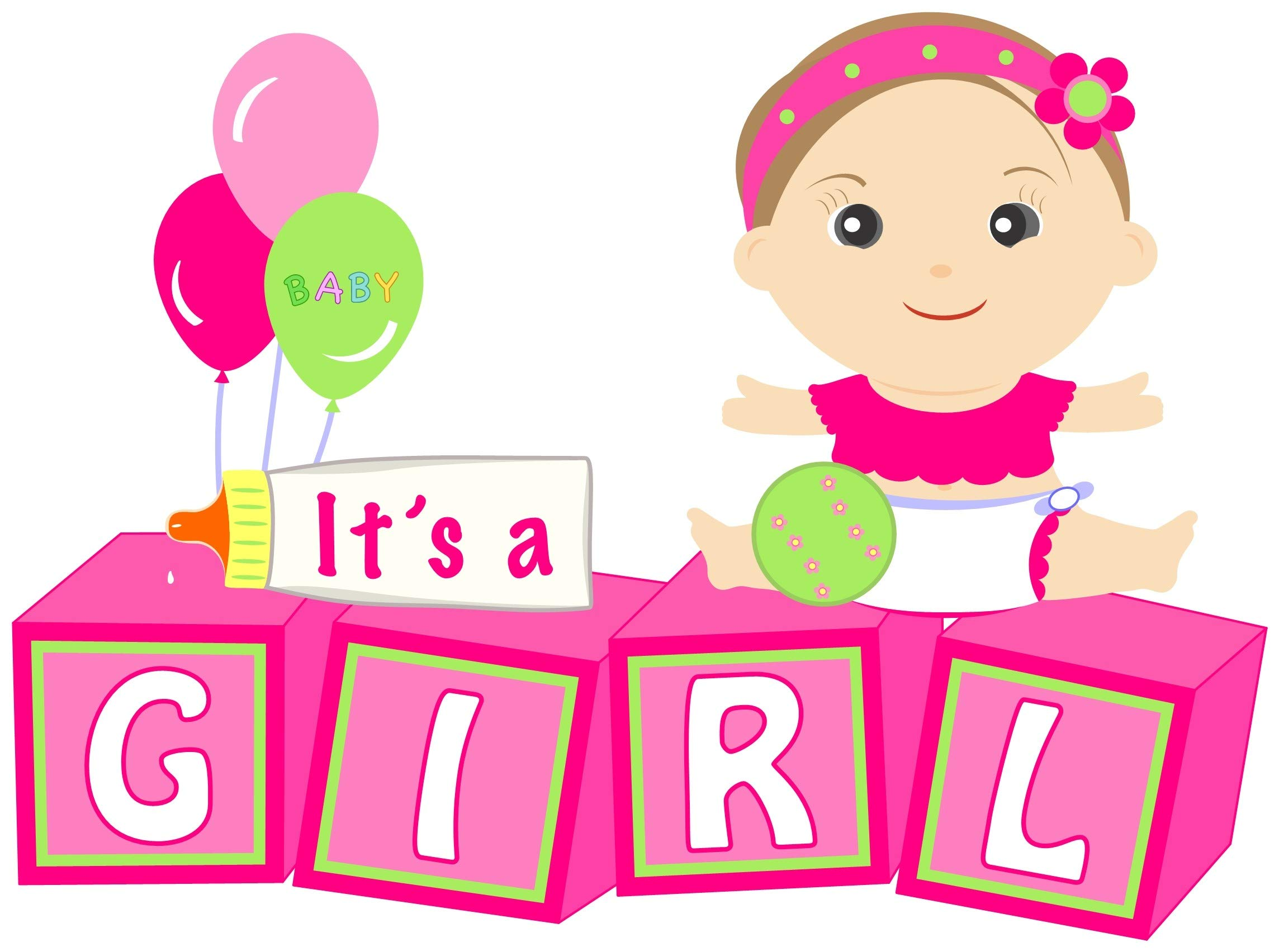 Welcome New Baby''It's a Girl'' Yard Announcement - Pink Outdoor Baby Shower Party Sign - Festive Newborn Lawn Stork Birth Decoration - Pregnancy Gift (Pink) by Cute News (Image #1)