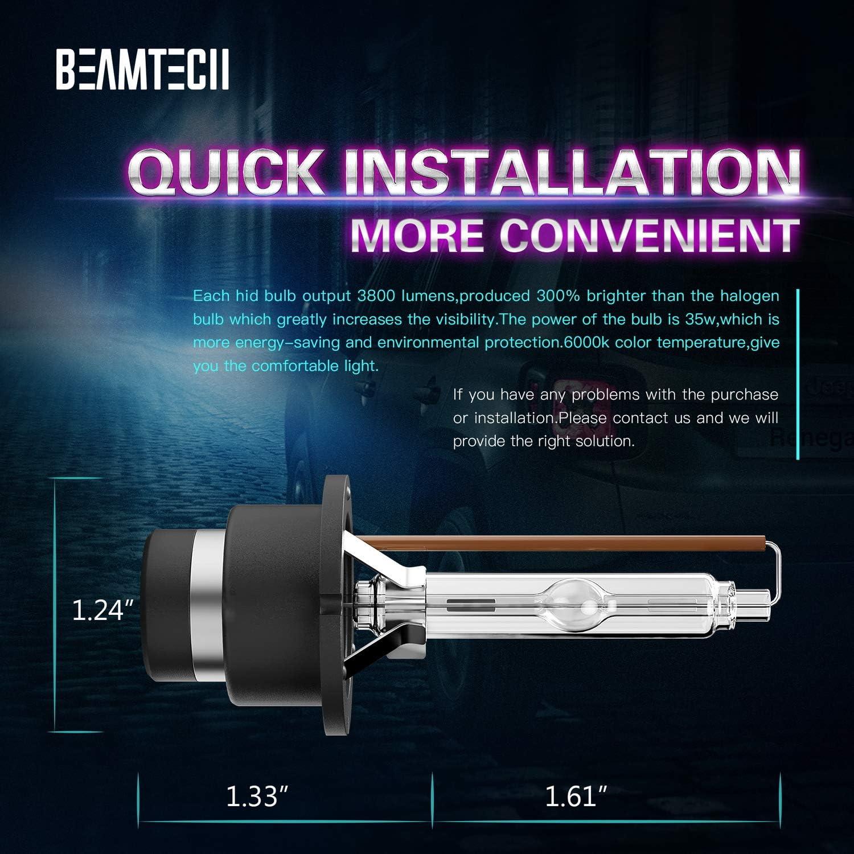 BEAMTECH D2S HID Bulbs Xenon Headlight Replacement Bulb 35W 6000K Pack of 2