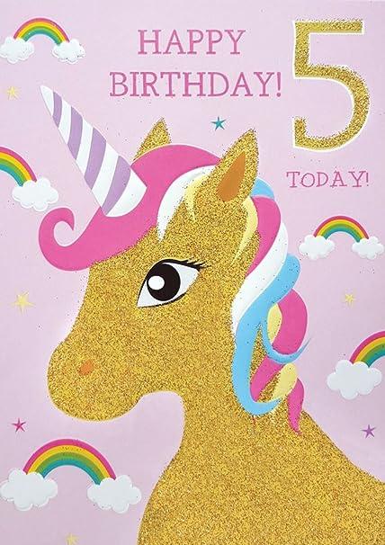 carte anniversaire fille 5 ans 5ème carte d'anniversaire pour fille Licorne et carte d'arcs en