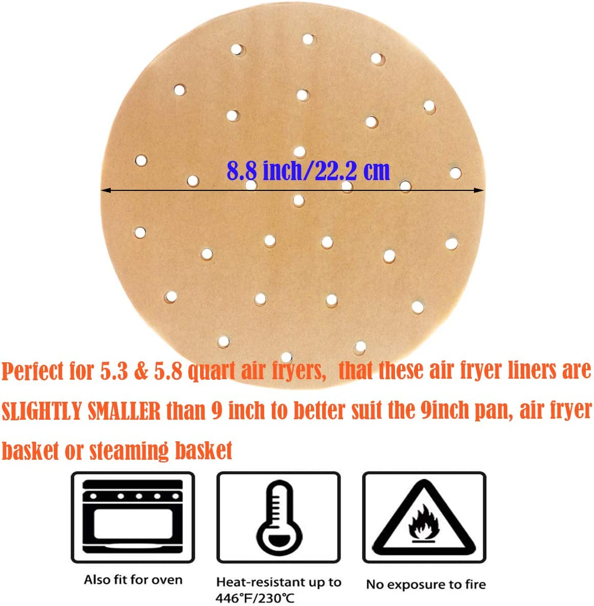 9 Inch Unbleached Air Fryer Liner Set of 200 Perforated Round Parchment Paper//Bamboo Steamer Liner for 5.8 qt Air Fryer Steaming Basket and More