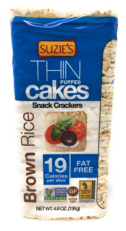 Suzie's Whole Grain Brown Rice Thin Cakes UNSALTED, 4.9oz (3 PK)