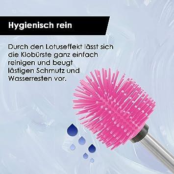 Beh/älter Grau Set di spazzole per WC Spazzolone per WC bianco B/ürste KLINOO Premium Scopino per WC in silicone nel contenitore come scopino per WC