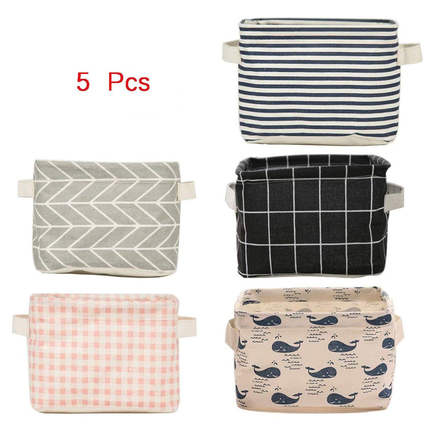 5 Pcs Foldable Storage Bin Basket,Foldable Fabric Storage Receive Basket with Handle Cotton Linen Blend Storage Bins for Makeup, Book, Baby Toy,8x6x5.5 inch by Csdtylh