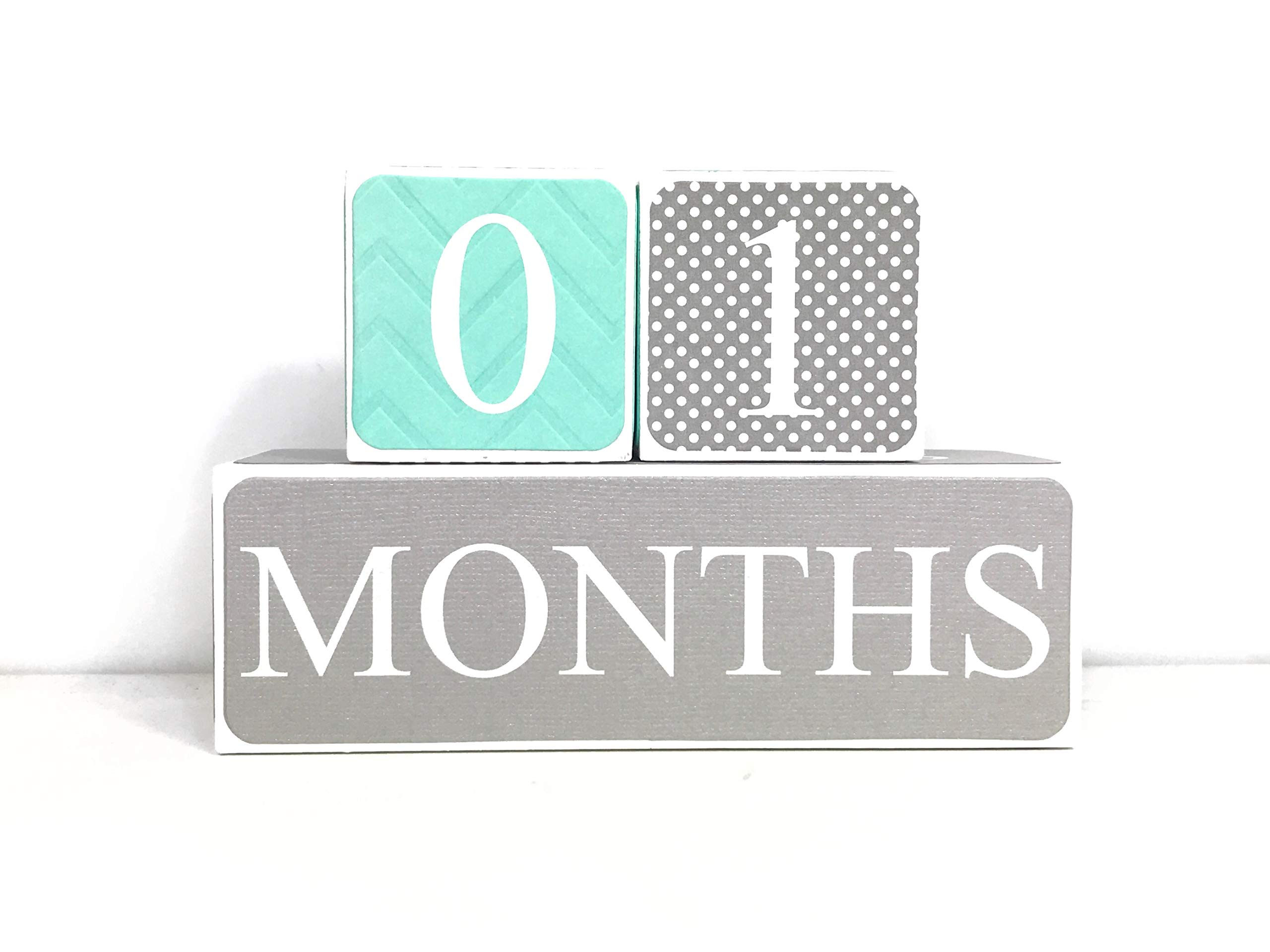 Sweet Sage Studio Wood Baby Milestone Blocks - 6 Color Styles - Best Baby Age Photo Props, Wooden Age Blocks, Baby Photography Props, Nursery Decor, (Turquoise and Gray)