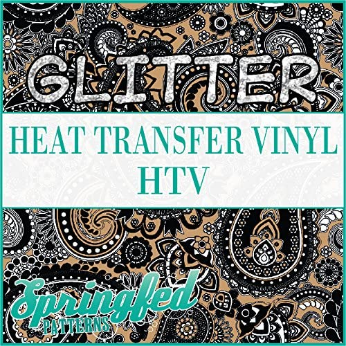 GLITTER Paisley Pattern #1 in Black /& Flat Gold Glitter Heat Transfer Vinyl 12x18 Sheet of HTV for Shirts