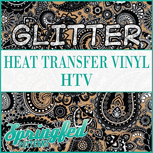 GLITTER Paisley Pattern #1 in Black & Flat Gold Glitter Heat Transfer Vinyl 12