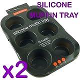Lot de 2 plaques anti-adhésives avec 6 moules à muffins Convient pour four/congélateur/micro-ondes/lave-vaisselle