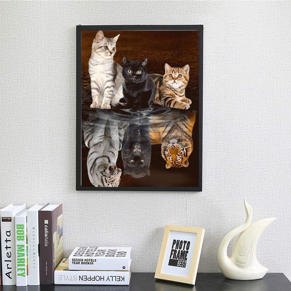 manualidades im/ágenes bordado decoraci/ón de pared para el hogar Kit de pintura de diamantes 5D para adultos con broca completa 3 gatos con reflejo 11.8 x 15.7 pulgadas 1 paquete por LAZODA