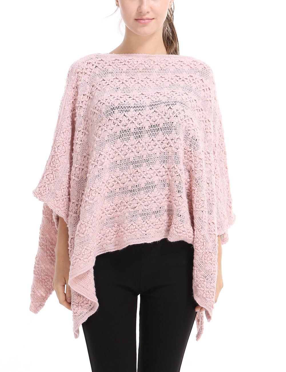 Ferand Casual Batwing Sleeve Floral Crochet Knit Poncho Cape Pullover for Women One Size Beige