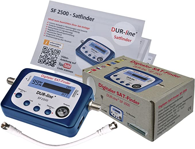 DUR-Line SF 2500 Buscador de Satélites Digital para un ajuste óptimo de su Antena Satélite (Buscador Satélites, Medidor, Pantalla LCD)