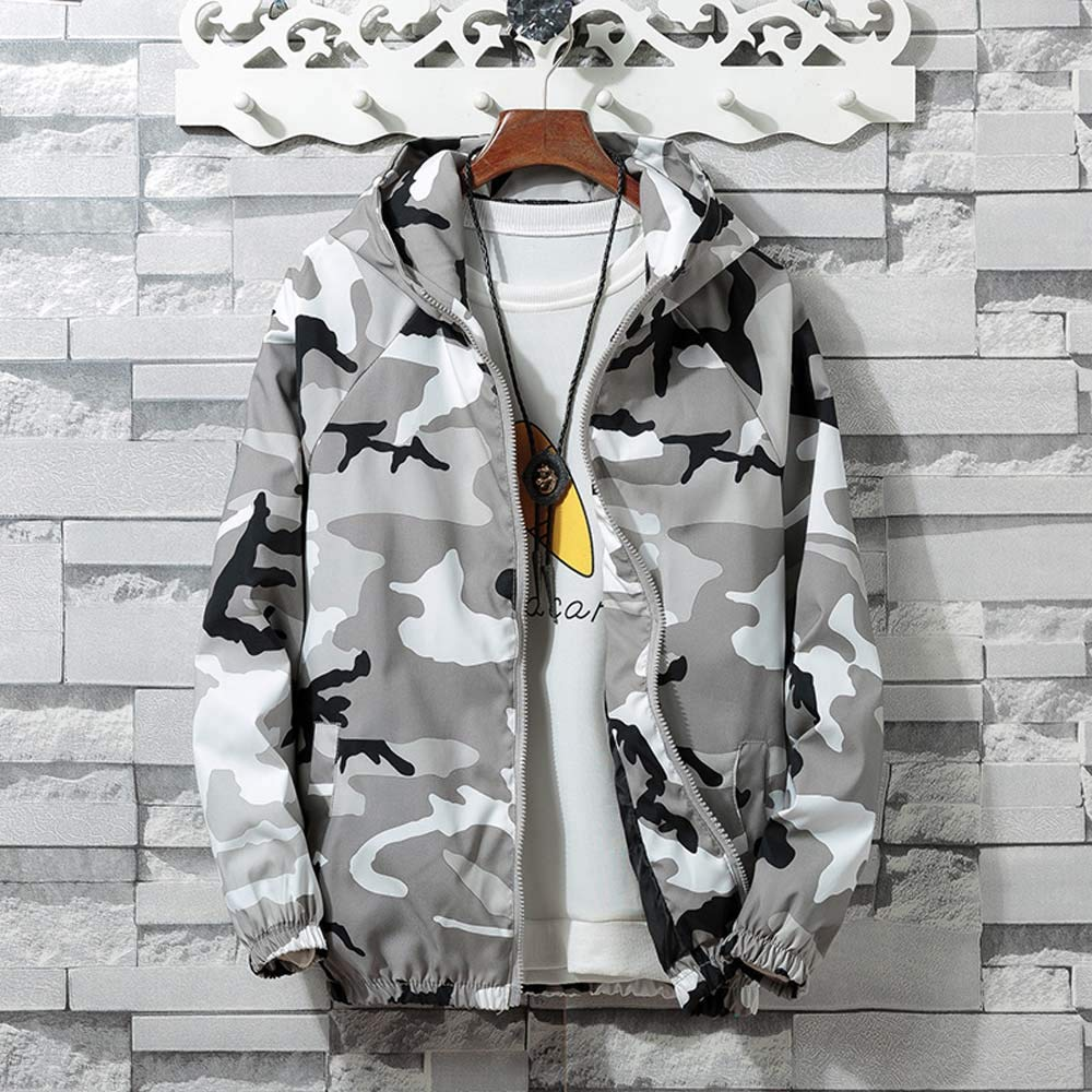 Teresamoon Mens Autumn Winter Zip Camouflage Long Sleeve Pocket Sport Hoodies Jacket Coat: Home & Kitchen