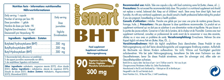 Supersmart MrSmart - antioxidantes - BHT (Butilhidroxitolueno)- Un importante antioxidante dirigido a aumentar la esperanza de vida y prevenir ataques ...