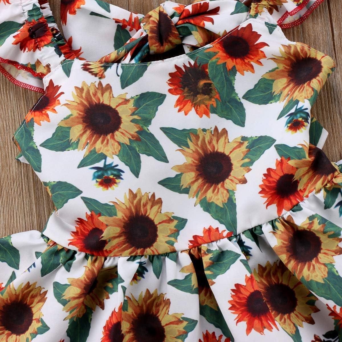 Newborn Kids Baby Girls Outfits Clothes Sunflower Floral Top Dress+Bottoms 2pcs Set 0-24M