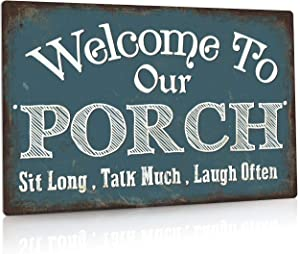 Putuo Decor Welcome to Our Porch Sign, Aluminum Metal Wall Sign for Home, Bar, Farmhouse, 12x8 Inches Use Outdoor/Indoor