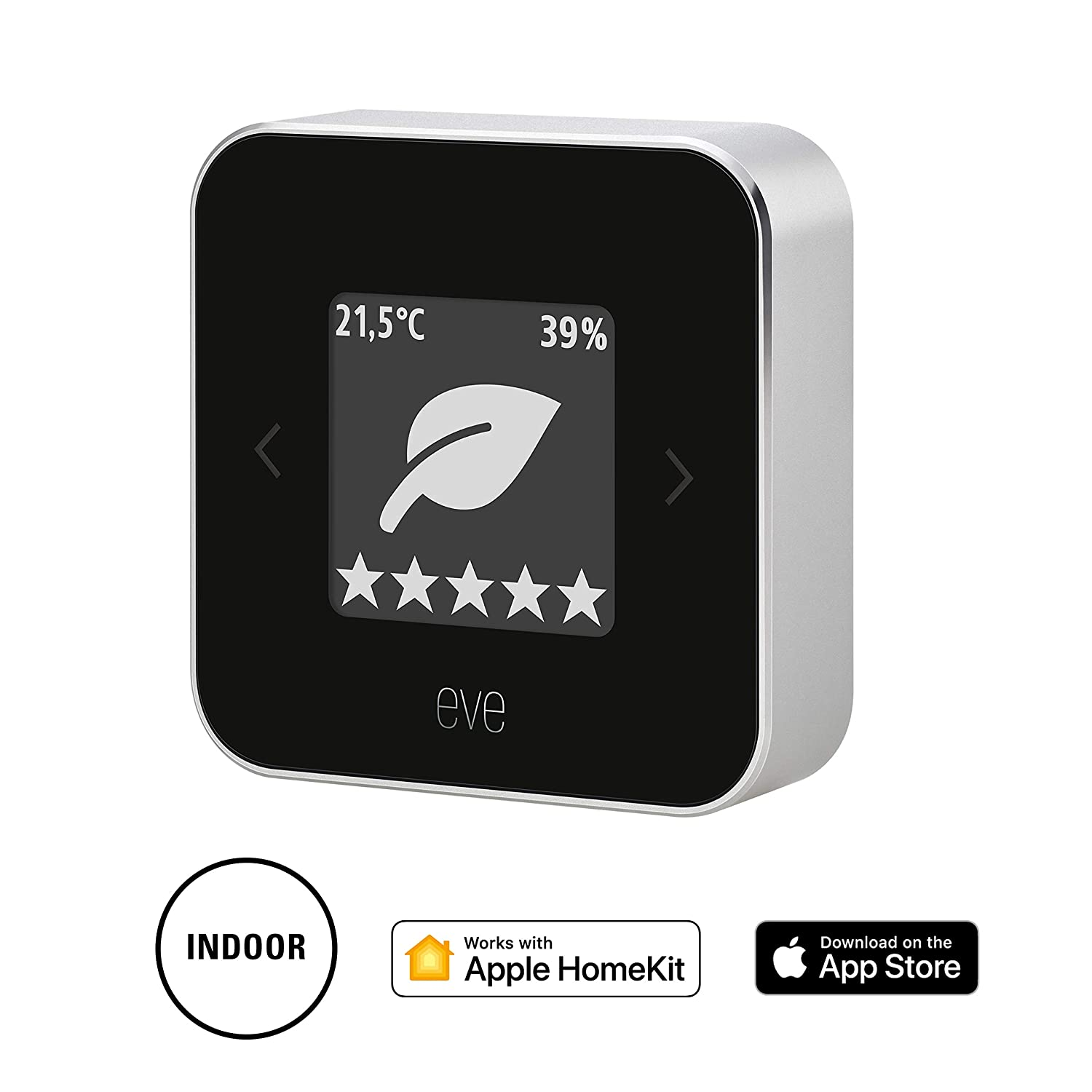 Eve Room - Monitor de calidad del aire, última generación, non occorrono bridge o gateway, negro (Apple HomeKit)