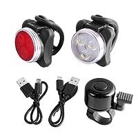 Unigear Phare Lampe LED de Vélo, Lumière Vélo Rechargeable Avant et Arrière, 4 Modes de Luminosité, éclairage USB Antichoc Impermeable, pour VTT VTC Cycliste Poussette Camping