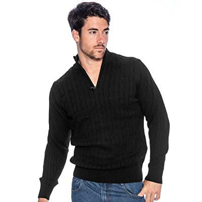 9 Crowns TR Men's Cotton Sweater with Quarter Zip Essentials at Men's Clothing store