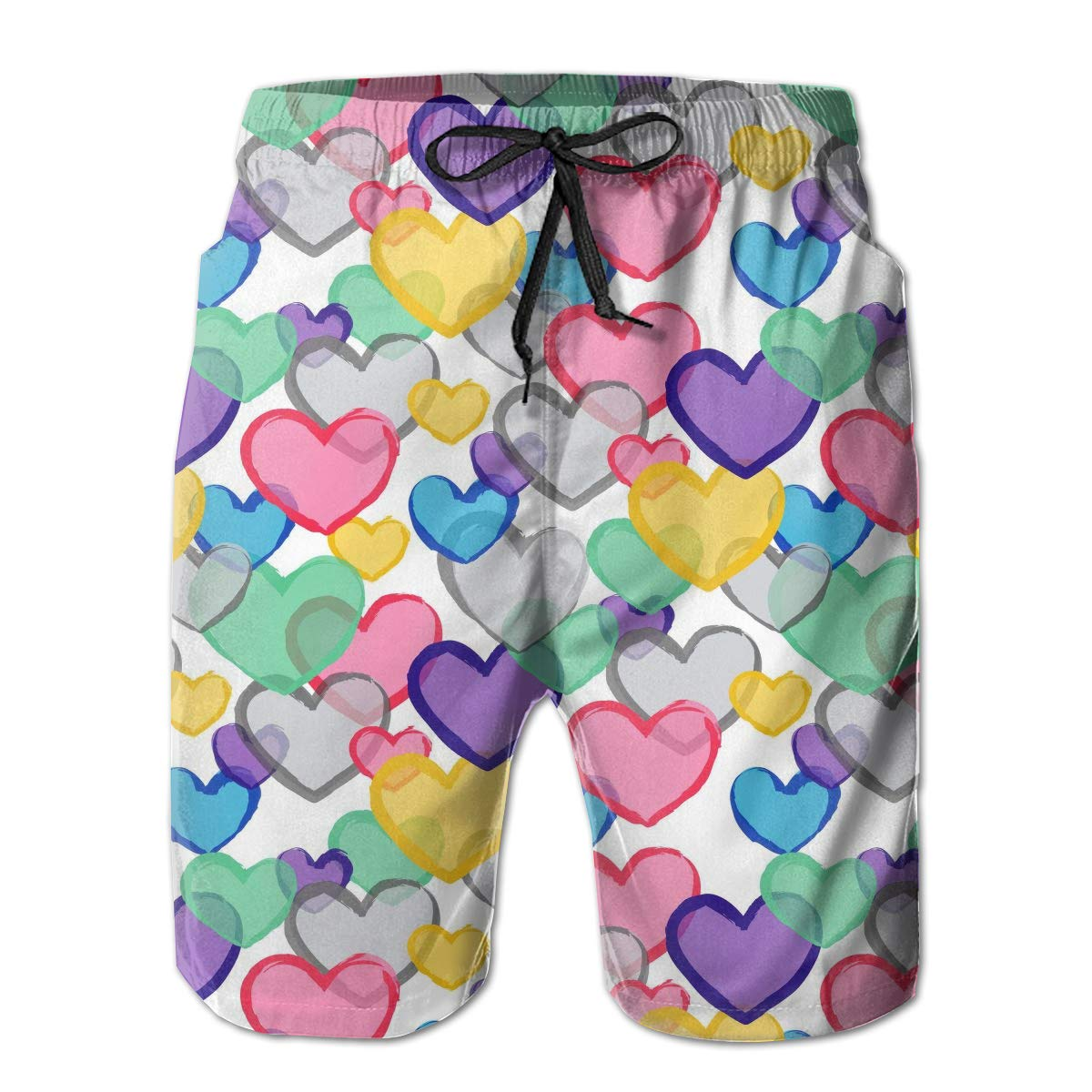 Mens Swim Trunks with Mesh Lining Pockets Colored Love Heart Boys Polyester Board Shorts Swimwear