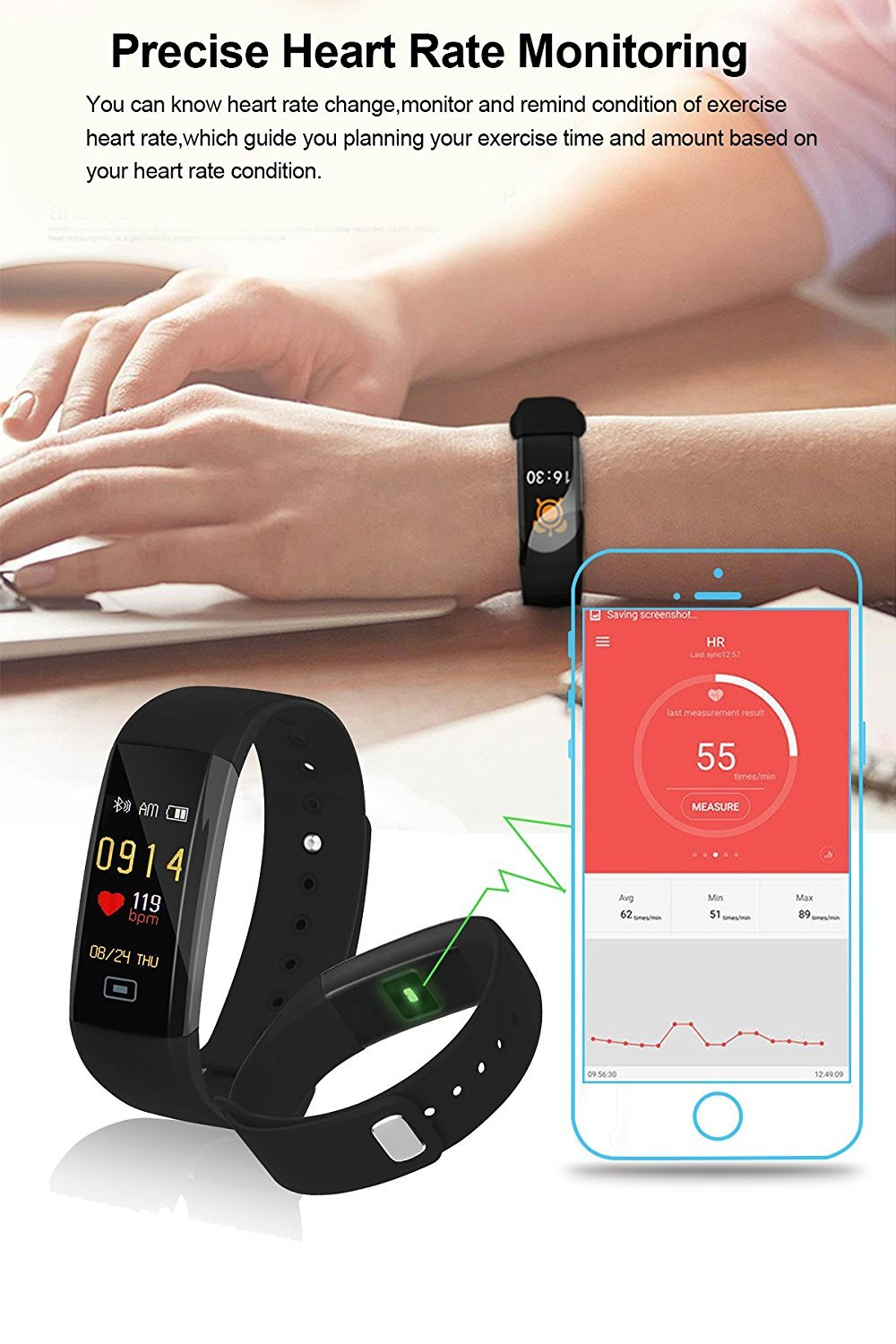 Fitness Tracker,Smart Watch,Colorful Screen+ free band, waterproof Smart  Bracelet with Heart Rate Monitor Blood Pressure Monitor,Steps