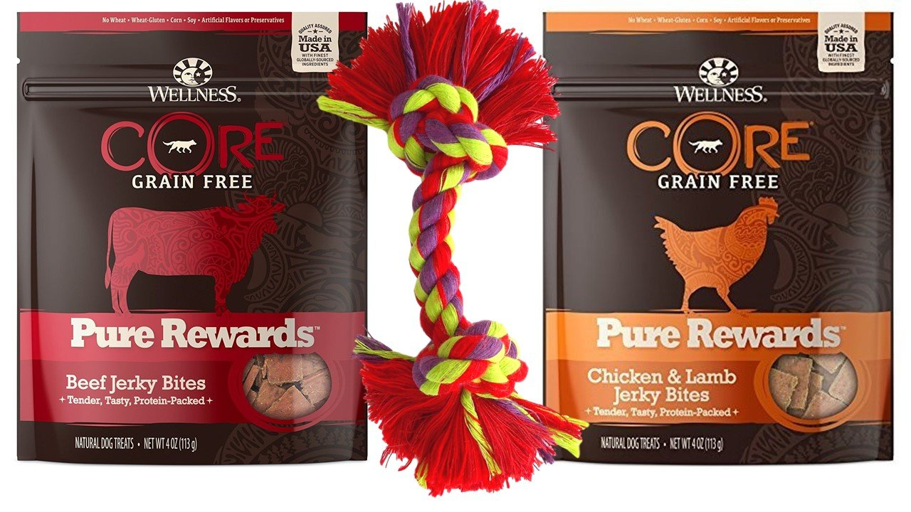 Wellness CORE Grain Free Pure Rewards 2 Flavor Variety with Toy Bundle: (1) Beef Jerkey Bites, (1) Chicken & Lamb Jerky Bites, 4 Oz. Ea.